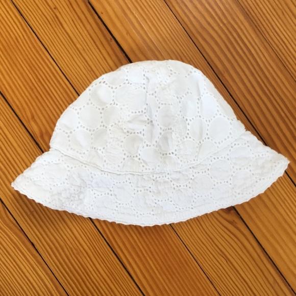 92bd53c99 Baby Girl White Eyelet Bucket Sun Hat